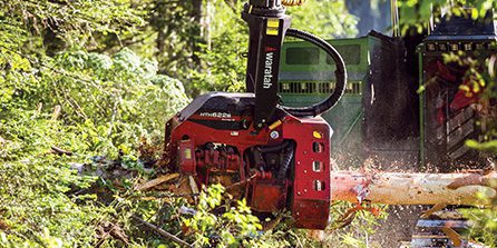 HTH622B Series-III harvester head cutting log